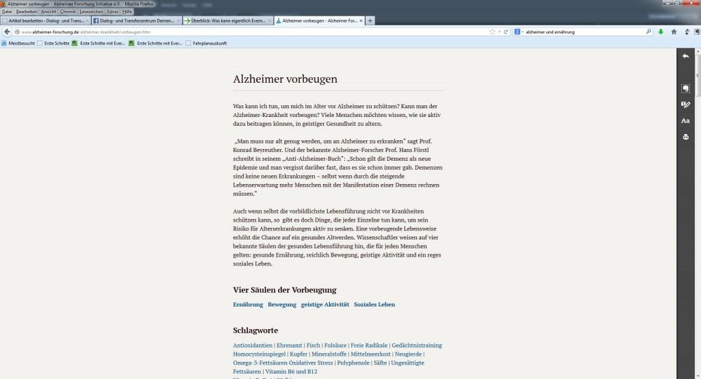 """Die Internetseite zum Thema """"Alzheimer vorbeugen"""" in der Bildschrimdarstellung mittels der Zusatzanwendung Clearly von Evernote"""